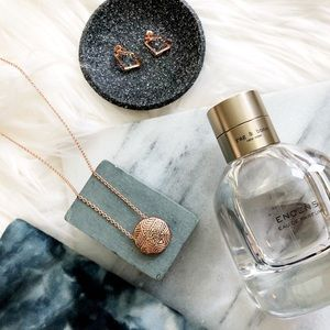 Rose Gold Small Etched Pendant Necklace